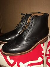 Grenson ALFRED Black Calf Brogue Boots Mens Size 11 US  Wingtip Shoes Brand New