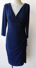 Ralph Lauren Navy V Neck 3/4 Sleeve Jersey Sheath Dress 8P New with Tag