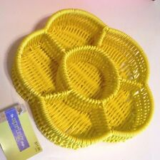 Yellow Woven Table Flower Basket Outside Picnic Party RV Decoration Organizer