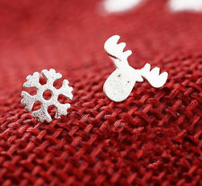 Trendy Sweet Snowflake 925 Silver Plated All_match Asymmetric Lady Stud Earrings