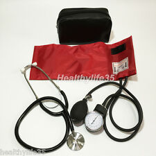 Blood Pressure Monitor BP Cuff Arm Aneroid Sphygmomanometer and Stethoscope Red