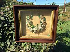 Antique Shadow Box With Funeral Wreath Wood Frame  Approx. 24x22x6