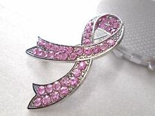 Pink Ribbon Breast Cancer Awareness Brooch Pin Charm Pink Rhinestones Jewelry