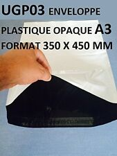 Pack of 100 White Plastic Opaque Envelopes - A3,350x 450mm, Postal Mailing