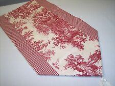 "53"" RED ON CREAM~WAVERLY Country Life Toile/Checked~Lined Tablerunner Tassels!"