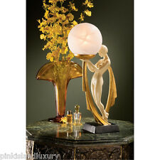 "16"" NUDE LADY LAMP SCULPTURE Art Deco Statue Frosted Glass Globe Illuminated Orb"