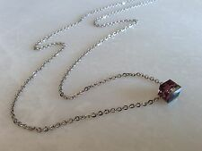Purple Bead Necklace Tiny Iridescent Square Glass Bead--Stainless Steel Chain