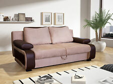 LARGE BEIGE/BROWN SOFABED FABRIC / FAUX LEATHER WITH STORAGE 3 SEATER DOUBLE BED