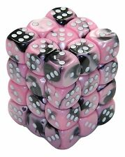 New Chessex 36 Piece 12mm 6 Sided Dice Set Black Pink Gemini CHX26830
