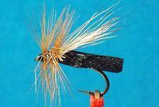 """Puterbaugh""""s Caddis Elk Hair Dry Foam Fly   size  14   Black Foam / Brown Hackle"""