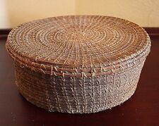 Antique Vtg U.S. Woven American Pine Needle Covered Lid Basket Box Oval Coil SE