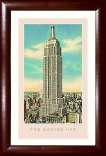 "New York Skyline EMPIRE STATE BUILDING ""The Empire NYC"" Framed Poster 13.5x19.5"""