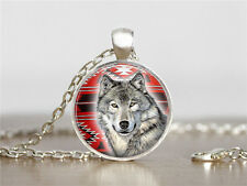 New Wolf Cabochon Tibetan silver Glass Chain Pendant Necklace XC80
