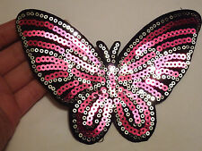 2 grandi farfalla patch paillettes toppa da applicare motif cucire rosa craft UK