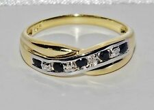 9ct Yellow Gold & Silver Blue Sapphire & Diamond Crossover Eternity Ring size N