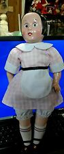 "VINTAGE HORSMAN ELLA CINDERS VINYL 17"" DOLL, 1988, PINK CHECKED DRESS"