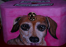 Custom hand painted DACHSHUND portrait memorial Wood box Pet URNs for dogs ashes