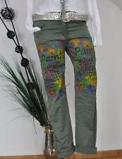 NEU  ITALY BAGGY BOYFRIEND HOSE PANTS STRETCH STATEMENT PRINT KHAKI L 38 40