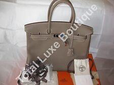 AUTHENTIC Hermes Birkin Bag 35cm Etoupe Togo Palladium Hardware Year Q