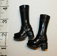 "Barbie high heel  black Boots to be used with doll 11"" or 12""  1/6 scale  figure"