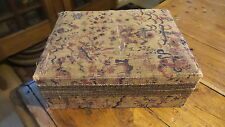 Antique Early CLOTH COVERED BOX, METALLIC TRIM, SATIN LINING