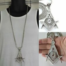 """Mens Silver Finish Masonic Cubic Zirconia Pendant With 36"""" Franco Chain Necklace"""