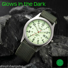 Men's Military Calendar Quartz Luminous Green Watch Military Green Nylon Strap