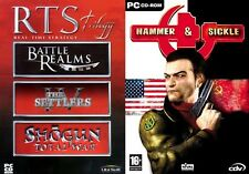 Rts trilogie battle realms settlers iv & shogun total war & hammer + faucille new & sealed