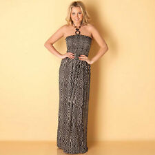 Brave Soul Tribal Print MAXI DRESS 10-12 MEDIUM New beach surf BLACK & WHITE