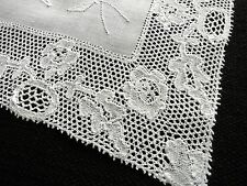 ANTIQUE LACE 8 Placemats POINT de PARIS & HAND EMBROIDERY on LINEN ~GRACEFUL~