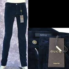 GUCCI New sz 46 - 30 Authentic Mens Super Skinny Pants Jeans navy blue corduroy