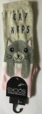 Ladies Pink, Grey and Cream Ankle Socks with Cat Naps detail Size 4 - 8