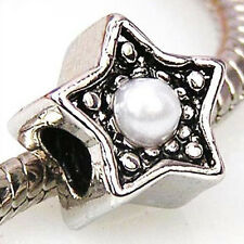 5pcs Pearl Star Silver European Spacer Charms Beads For Bracelet Necklace LEB432