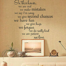 Art Vinyl Quote Wall Sticker Decal Mural Home House Rules Family DIY Removable