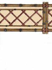 Bamboo Lattice with Red Laser Cut Wallpaper Border ES002141B