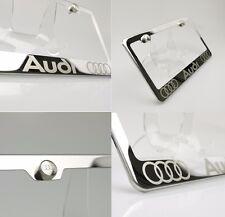 Chrome License USA Audi Plate Frame Laser Engrav Steel Car Suv Truck w/ Logo Cap