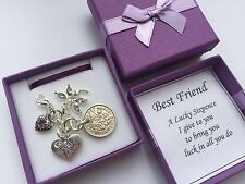 BEST FRIEND LUCKY SIXPENCE KEEPSAKE CHARM in a lovely gift box