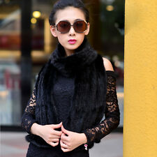 Women's Real Knitted Mink Fur Scarf Shawl Stole Cape Xmas Series Tassels