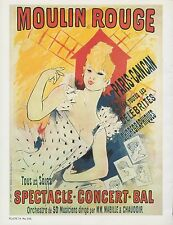 """1980 Vintage """"MOULIN ROUGE"""" PARIS CANCAN CHERET MINI POSTER Art Plate Lithograph"""