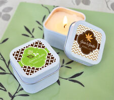 24 Personalized Square Tin Fall For Love Candles Wedding Bridal Shower Favors
