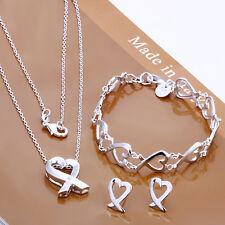 European 925Sterling Silver Jewelry Heart Necklace Bracelet Earrings Set SY203