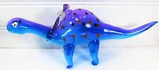 Dinosaur Decorative hand blown Glass holiday Ornament Purple/blue