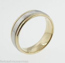 DIANA 18K YELLOW GOLD & PLATINUM 6MM WEDDING BAND SIZE 7 3/4 2TONE VINTAGE MENS