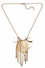 ETNO STYLE,NECKLACE GOLD CHAIN & MOTHER OF PEARL PENDANT & METAL TASSELS(ZX50)