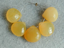Natural Yellow Opal Faceted Heart Briolette Semi Precious Gemstone Beads 9-11mm