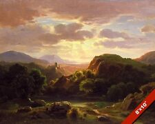 CASTLE IN AUERBACH GERMANY SUNSET LANDSCAPE PAINTING ART REAL CANVAS PRINT