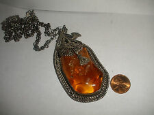 BEAUTIFUL GENUINE VINTAGE BIG BALTIC AMBER PENDANT STERLING SILVER NECKLACE