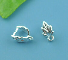 30 Silver Plated Leaf Pinch Bail Findings 9x7mm