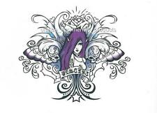 "GOTHIC PURPLE, BLACK BLUE FAIRY WITH SKULLS LETTERING ""DESCENT"" Temporary Tattoo"