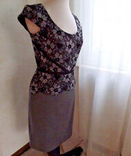 ANN TAYLOR GORGEOUS NEW DRESS BLACK TOP LACE WITH CHARCOAL GRAY BOTTOM SZ 4 NWT